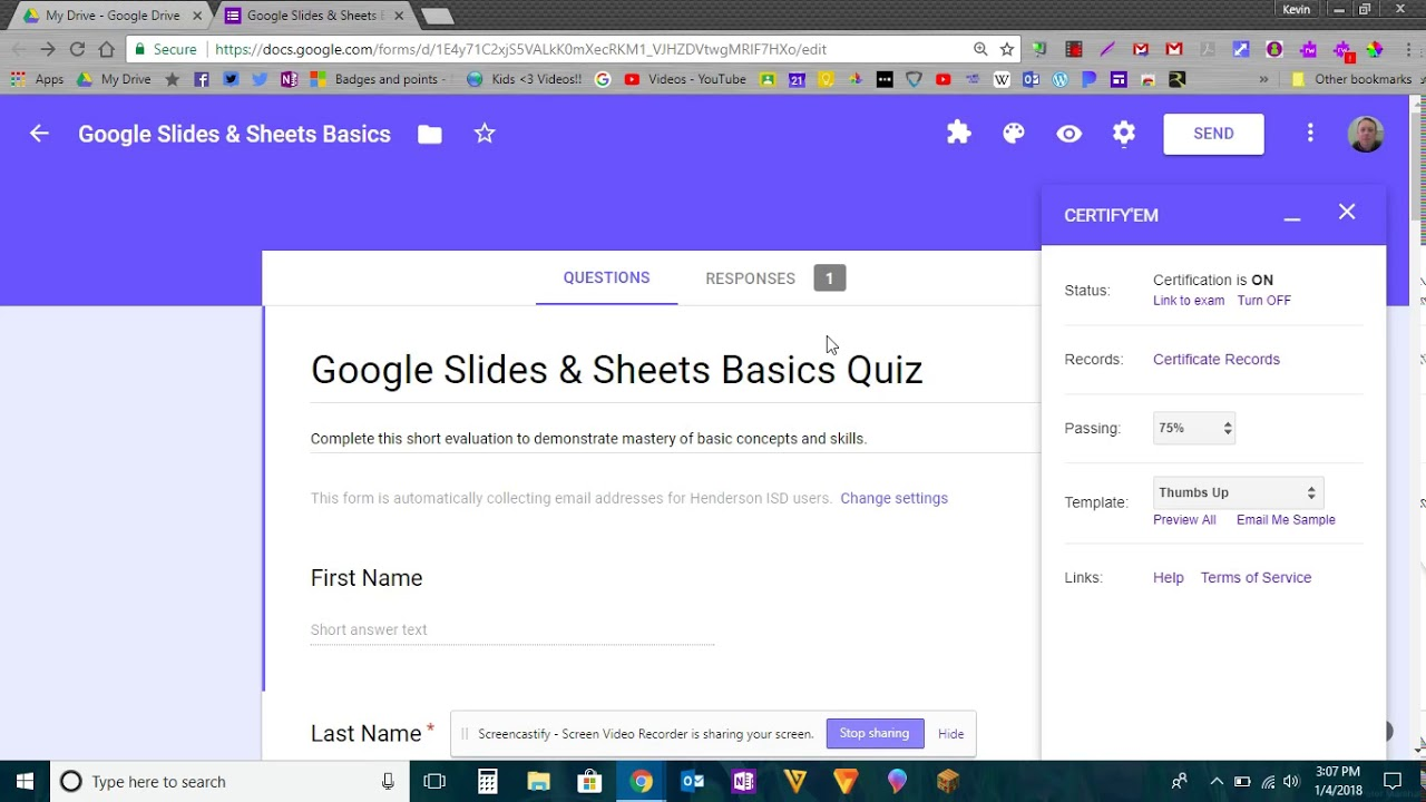 Certify Em Add On For Google Forms Quizzes Youtube
