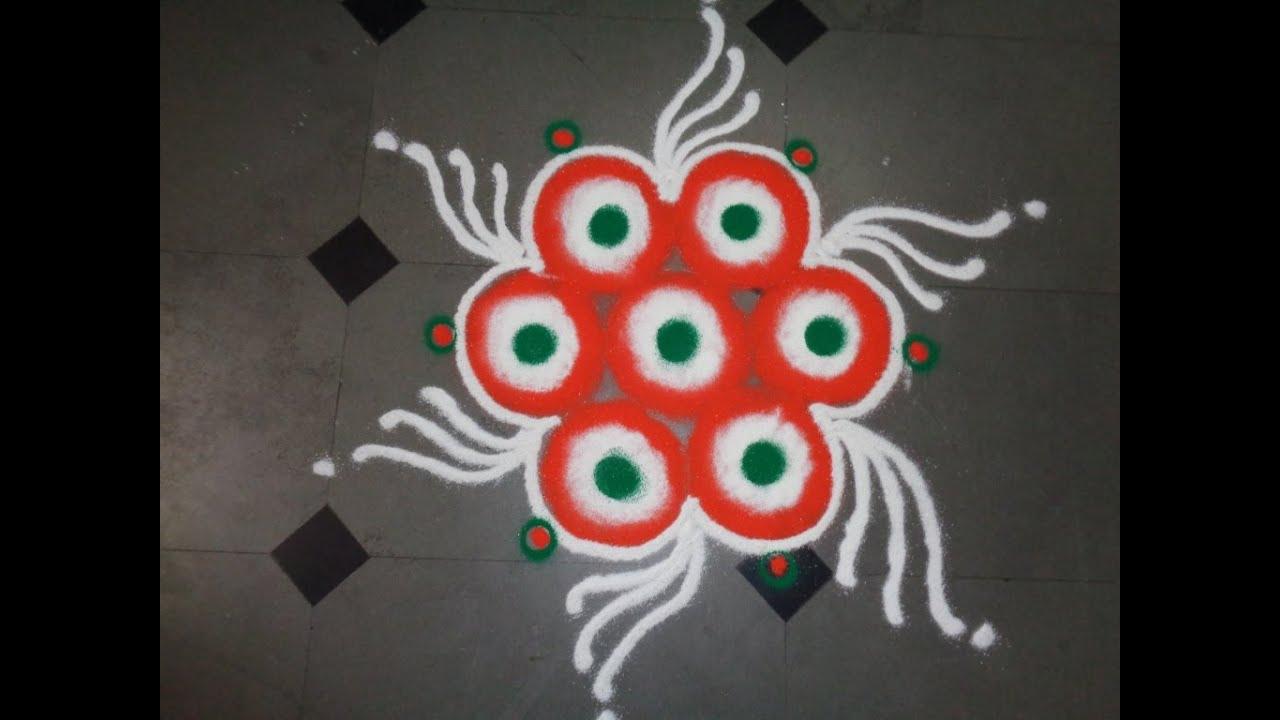 how to make indian flag colour rangoli design s55 youtube