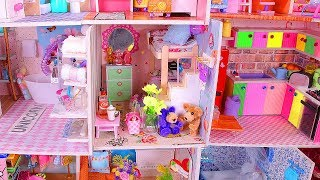 DIY Miniature Living Room + Gluing Together 14 Dollhouses!