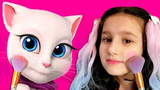My Talking Angela | Alice plays the game My Virtual Pet | Funny stories by Alice and TOYS