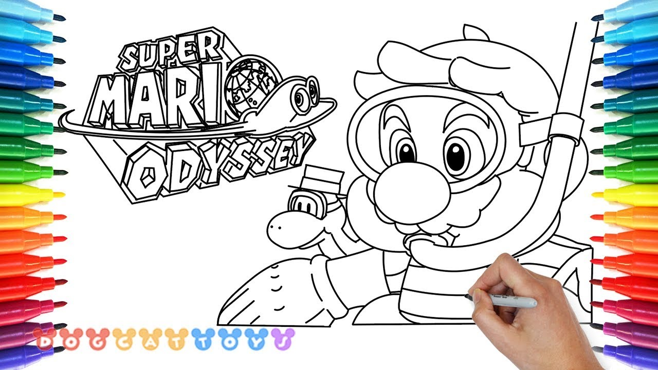 How to Draw Mario Odyssey, Diving Mario #21 | Drawing Coloring ...