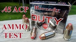 AMMO TEST:  Hornady Critical Duty .45 ACP +P 220 gr JHP