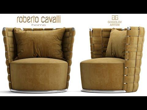 "№44. Моделирование кресла ""Roberto Cavalli Lounge Occasional Chairs Bell"" в 3d Max."