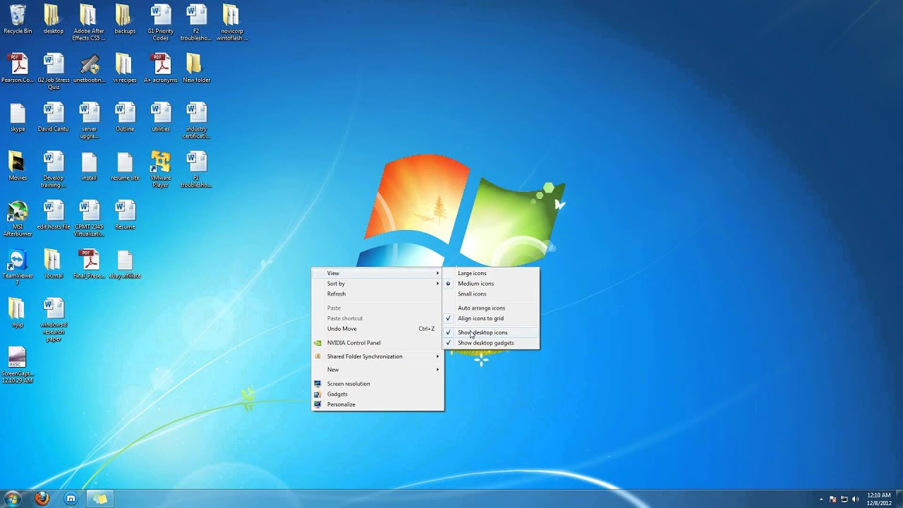 how to hide desktop icons windows 7 youtube