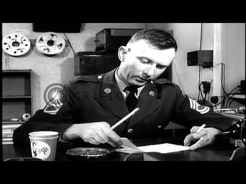 Lieutenant Colonel Robert Cranston at AFN (American Forces Network) radio station...HD Stock Footage
