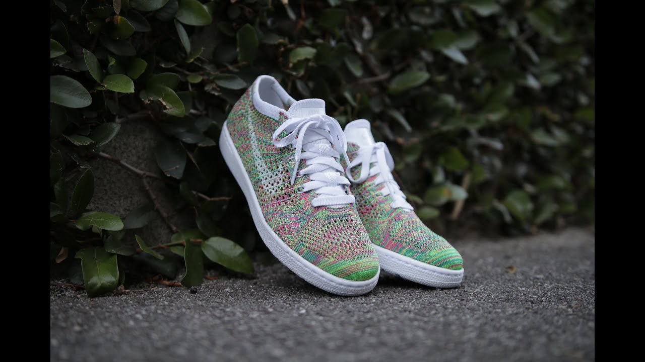 Women's Nike Wmns Tennis Classic Ultra Flyknit White Radiant Emerald Multi Color Sneakers : W53h6606