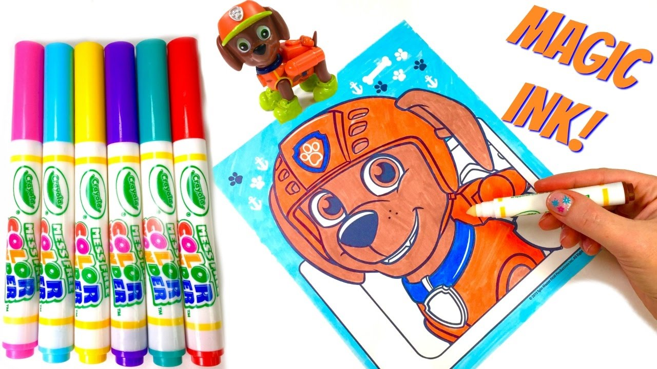 Paw Patrol Zuma Crayola Magic Ink Marker Coloring Book Surprise ...