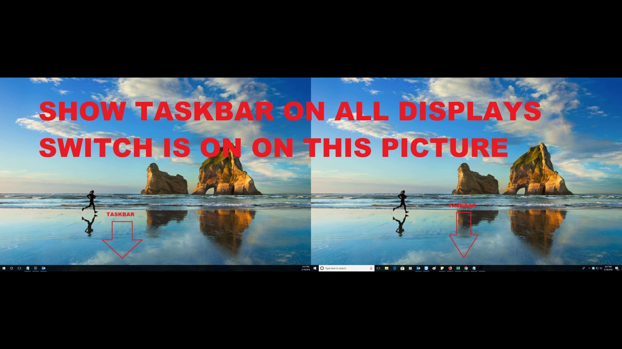 how to remove taskbar from one monitor