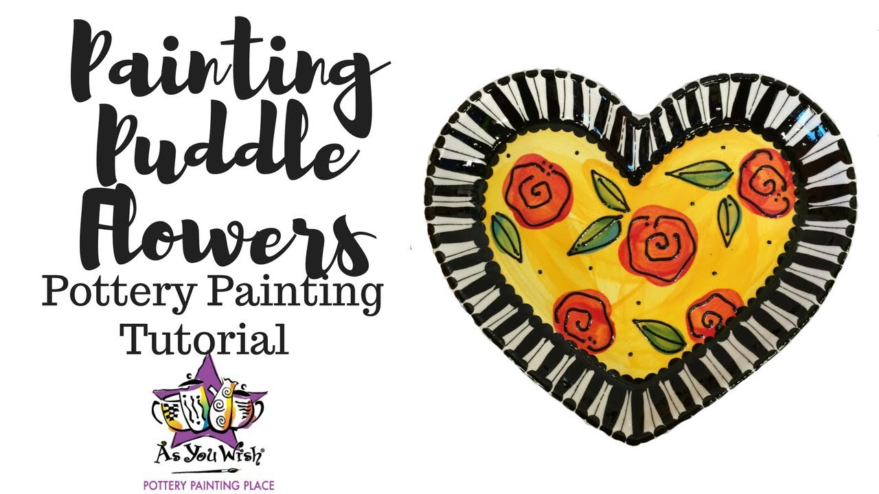 Painting Puddle Flowers on Pottery |As You Wish Pottery Painting Place