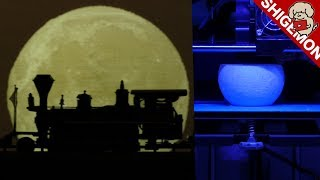 3D Printed Miniature Moon / 3Dプリンターで作った月 / Nゲージ 鉄道模型【SHIGEMON】