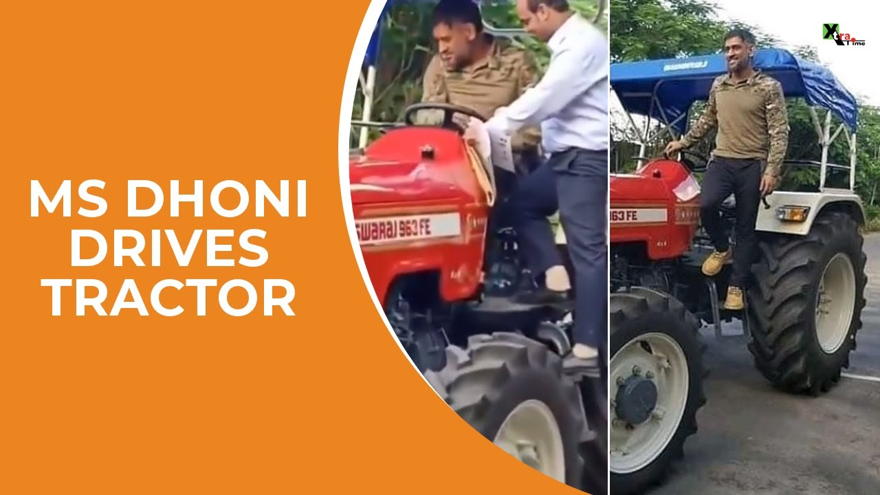 WATCH: MS Dhoni takes the wheel, drives a Tractor - YouTube