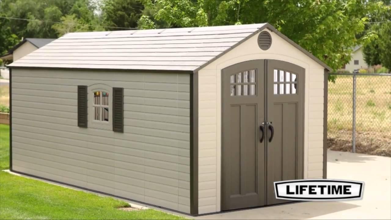lifetime 60121 8 u0027 x 17 5 u0027 outdoor storage shed youtube
