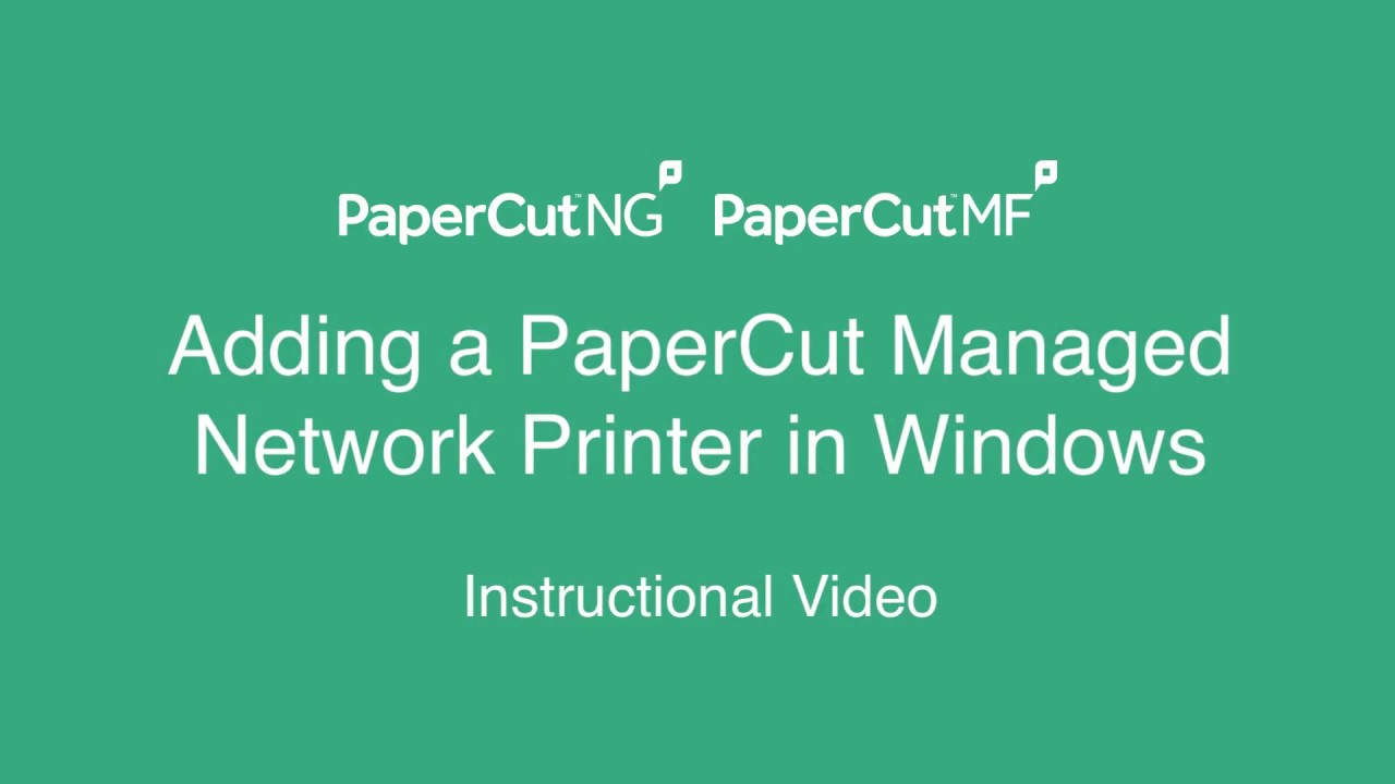 PaperCut KB | Working with network printers