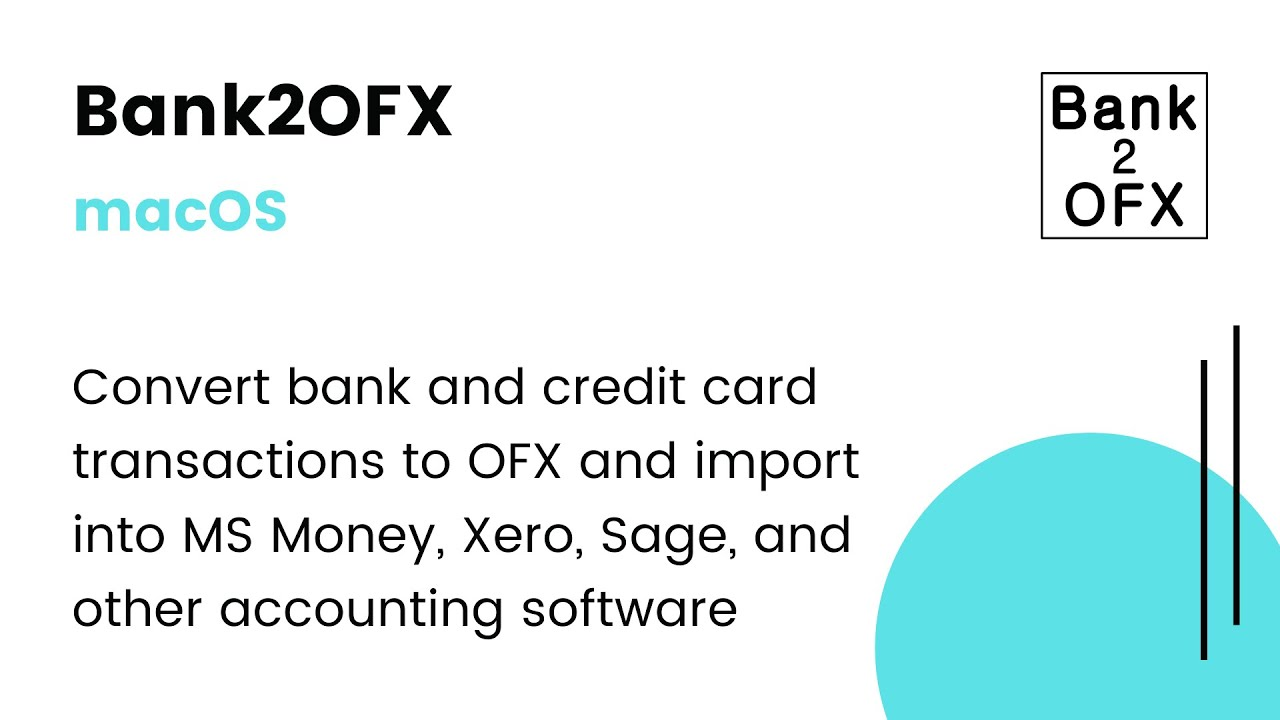 Bank2OFX (macOS): Convert PDF/QFX/QIF/OFX/QBO to OFX and import into xero  [2019]