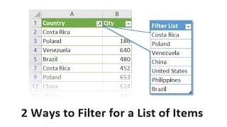 2 طرق تصفية قائمة من البنود في Excel