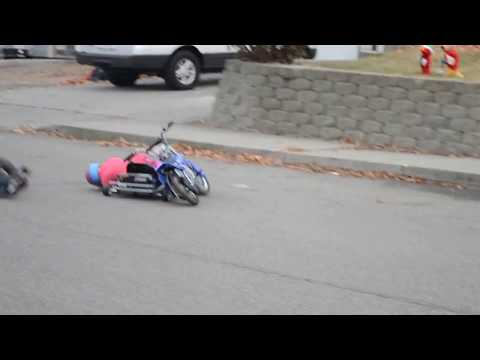 Kids Electric Motorcycle T-bones A Go Kart Crash