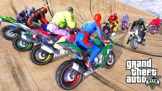 SUPERHEROES Motorcycles Challenge on Rampa with Spiderman, Hulk, Ironman, Black Panther - GTA V MODS