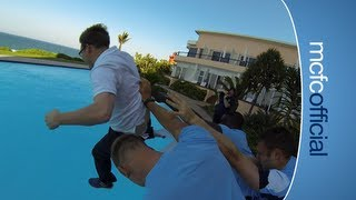 FUNNY Hart, Richards & Milner throw City press officer into swimming pool!