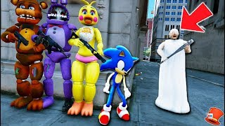 WILL GRANNY FIND SONIC THE HEDGEHOG & THE ANIMATRONICS? (GTA 5 Mods For Kids FNAF RedHatter)