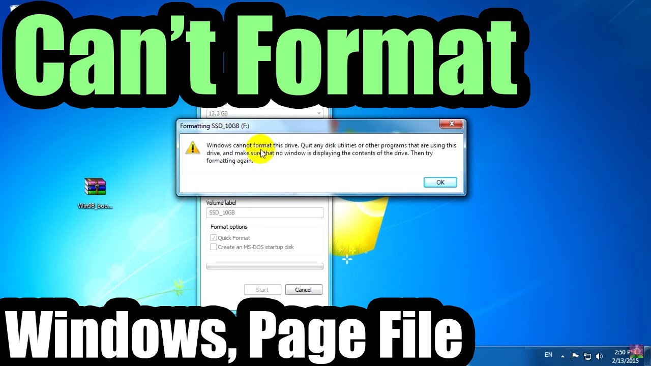 cant format my laptop