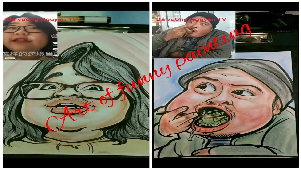 vẽ tranh hài 01 #nghệ thuật vẽ tranh biếm họa #caricature #vẽ tranh hài hước