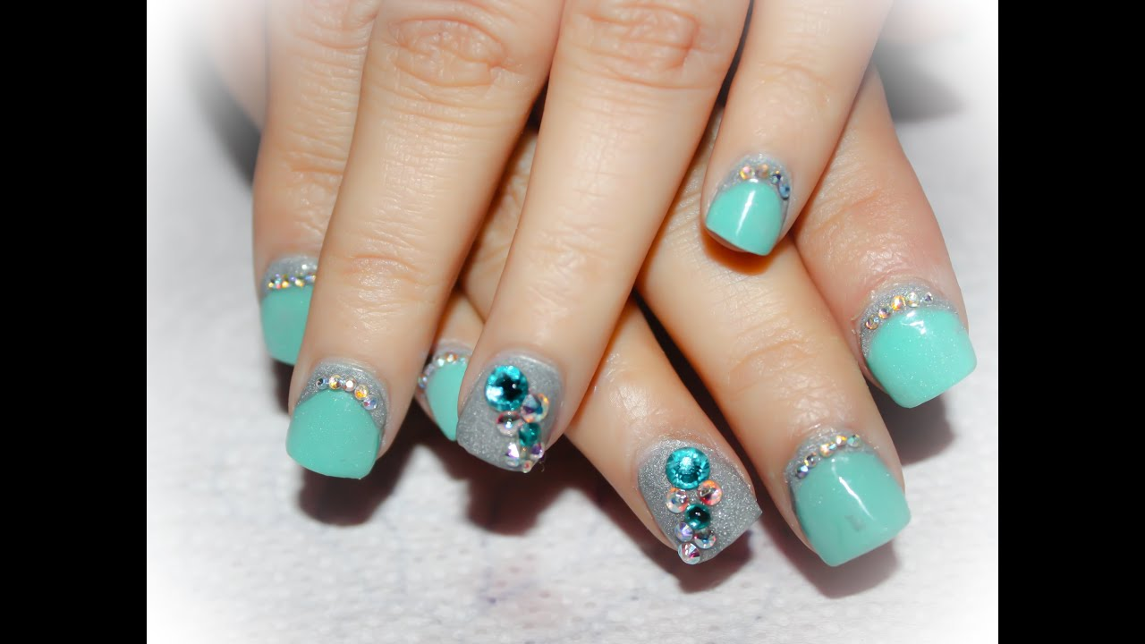 Easy nail extension mint and silver youtube prinsesfo Image collections