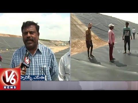 Officials Used Fire Proof Polythene Covers In SRSP Canal To Prevent Water Leakage | Warangal | V6
