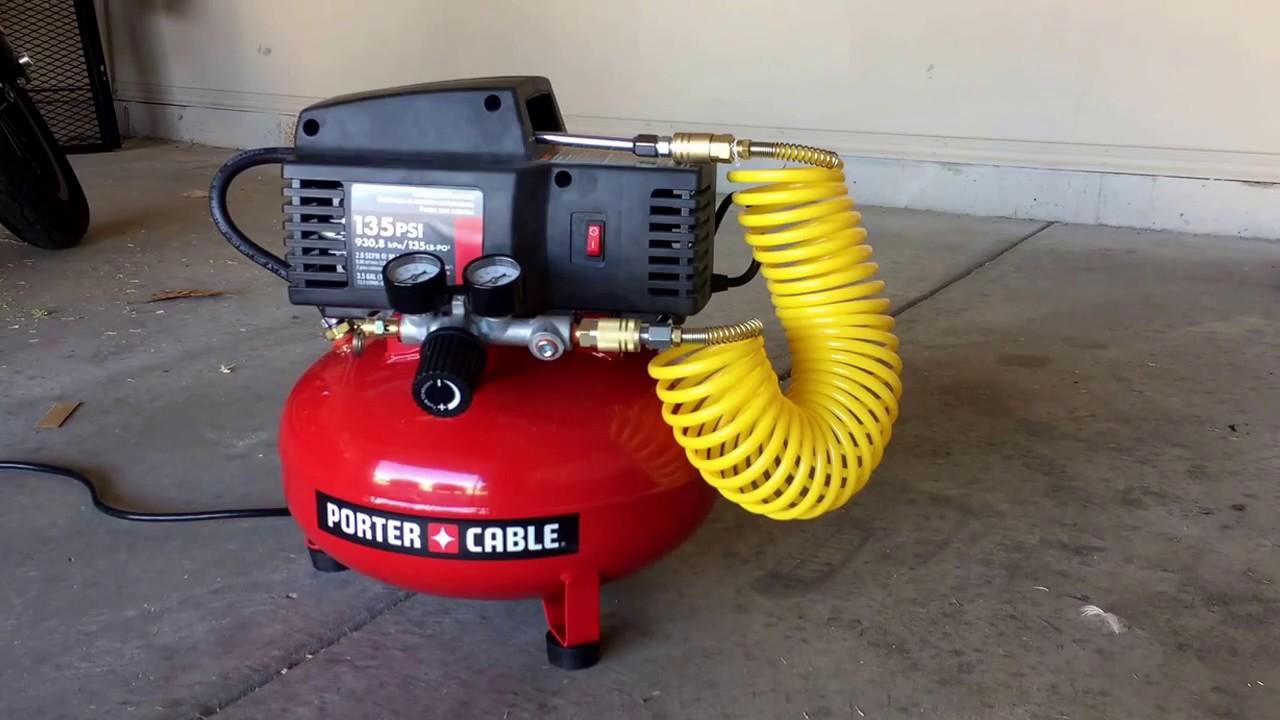 Porter Cable 3 5 Gallon 135 Psi Pancake Compressor Youtube