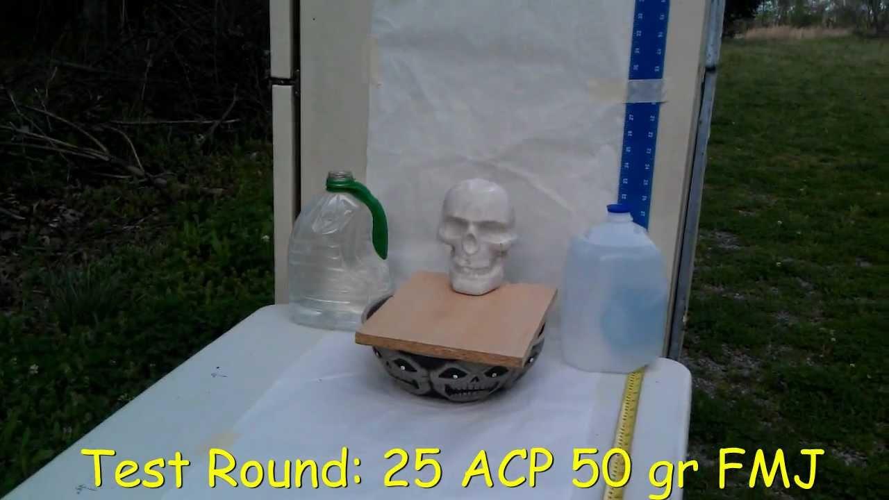 25 ACP 50 grain bullet shot through a phoenix arms raven vs  zombie skull