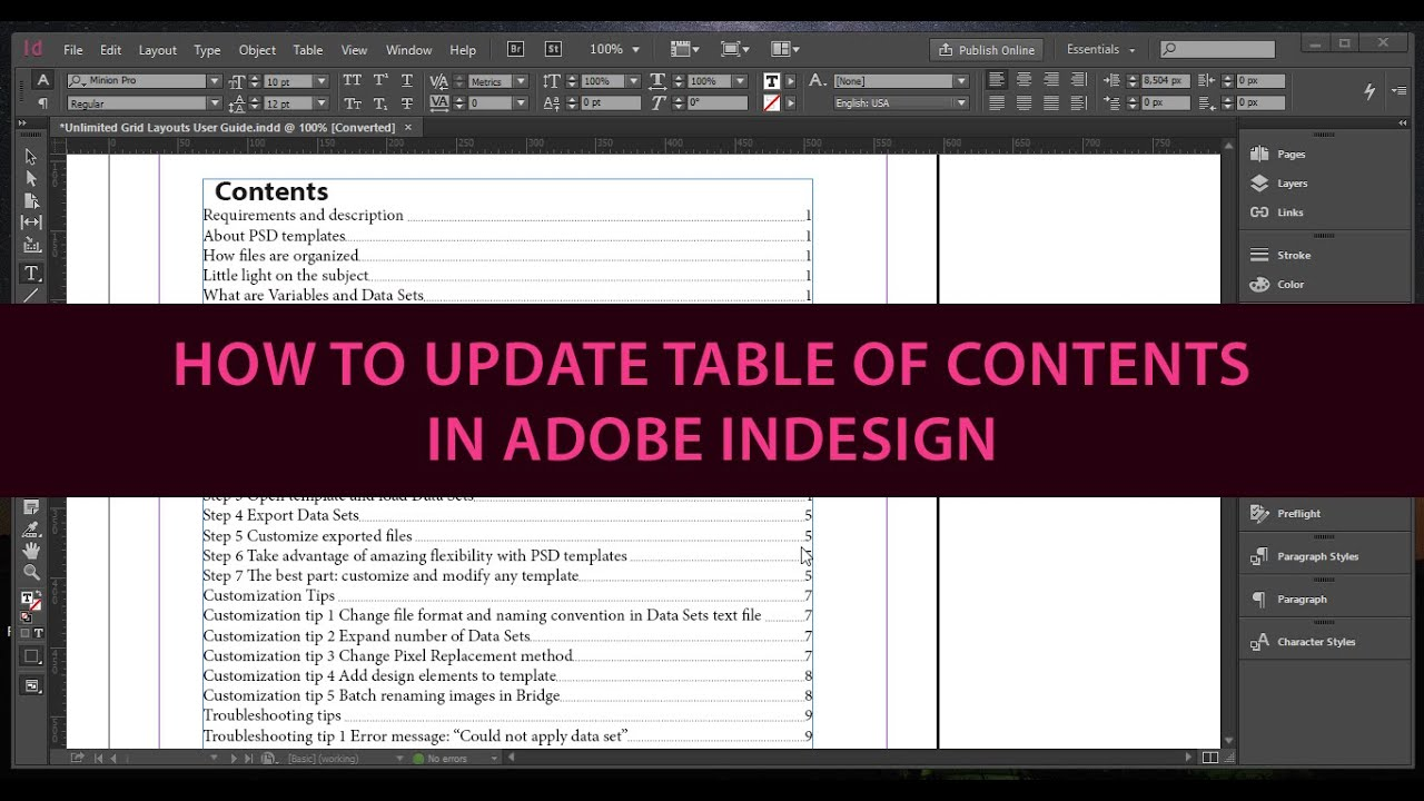 How to Update Table of Contents in Adobe InDesign - YouTube