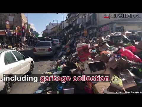 Garbage at the Mahane Yehudah market in Jerusalem because of Municipality strike