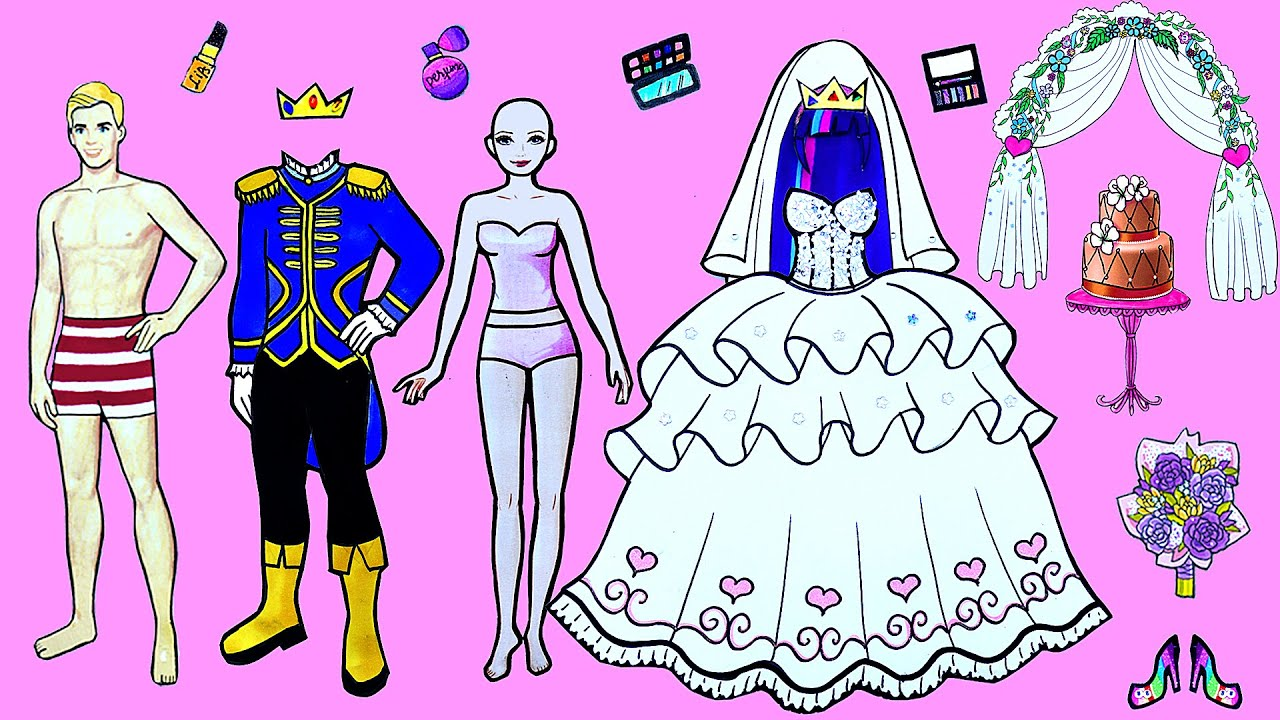 Paper Dolls Dress Up ~ Costumes Cinderella & Prince Wedding Handmade Quiet Book ~ Dolls Beauty