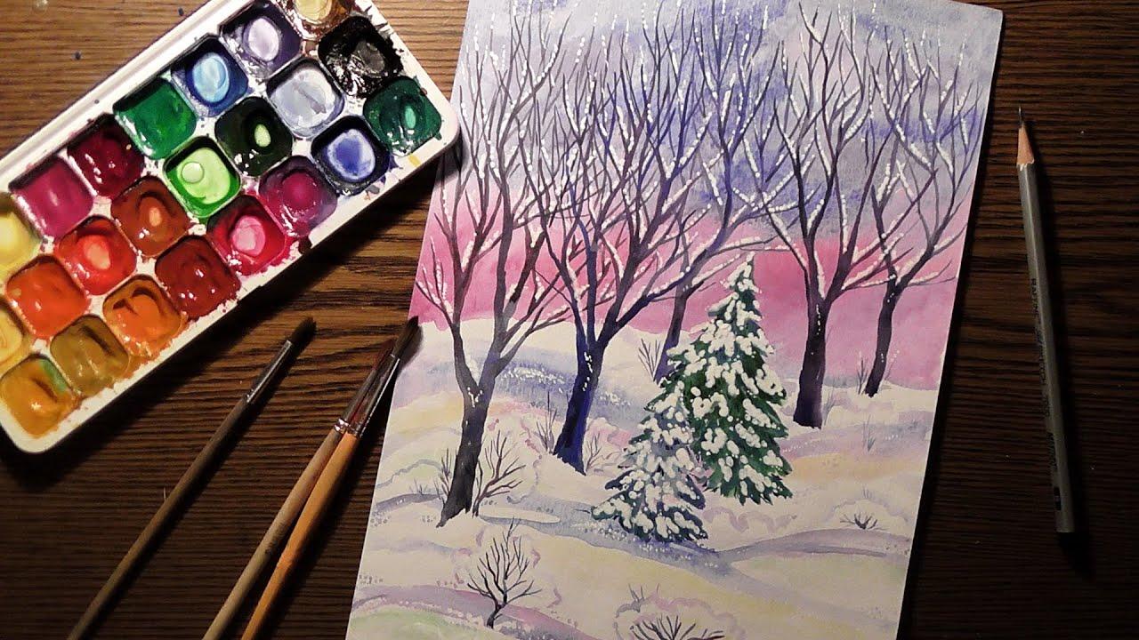 Мастер класс по рисованию гуашью зимы видео