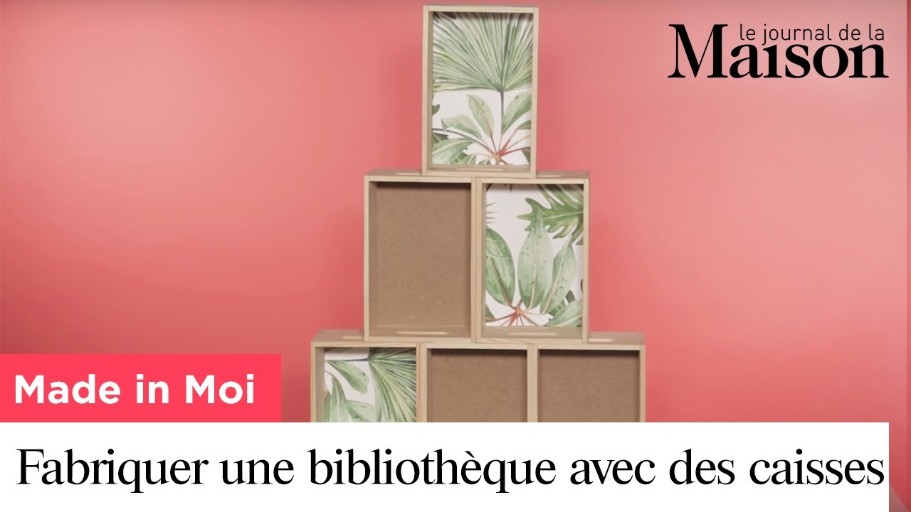 made in moi comment fabriquer une biblioth que avec des caisses vin youtube. Black Bedroom Furniture Sets. Home Design Ideas