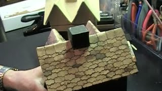 Shingled Roof On Mini Haunted House (hobby Lobby Paper Mache House).