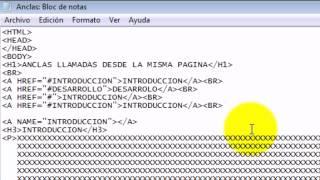 Anclas llamadas desde la misma pagina HTML