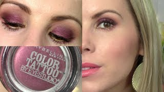 Holiday makeup tutorial too cool maybelline color tattoo for Maybelline color tattoo in pomegranate punk