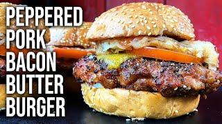 Peppered Pork Bacon Butter Burger Recipe