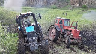 Грузовик Урал Вытащил из Балотах. Помощ Трактор Т40 и Беларусь