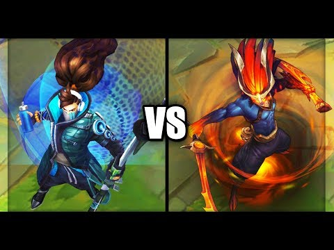 True Damage Yasuo vs Nightbringer Yasuo Legendary vs Epic Skins Comparison (League of Legends)