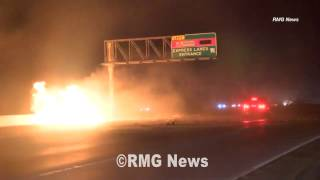 Fiery freeway crash caught on tape in Los Angeles, California.