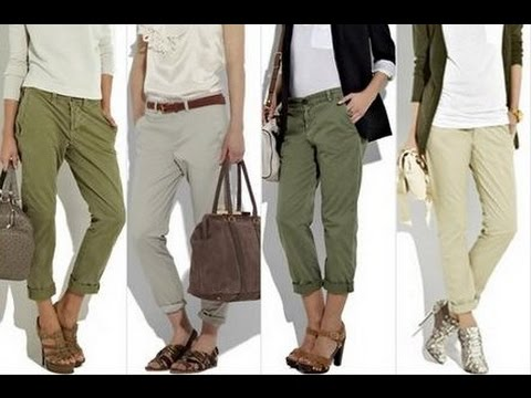 Womens Chino Pants - YouTube
