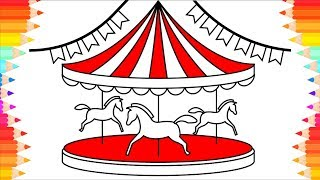 How to Draw Carousel with Horses🎠 Coloring Pages for Kids. Step by Step Art Drawings for Children