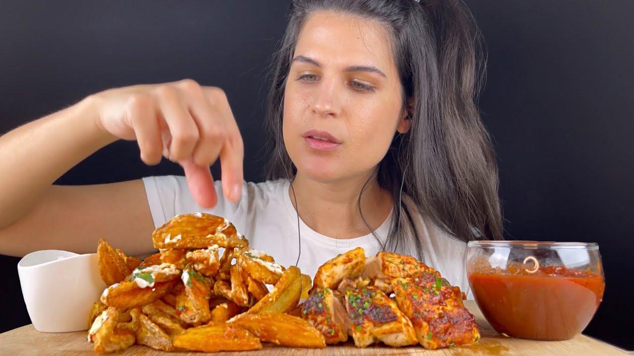 BONELESS BBQ CHICKEN & FRIES   MUKBANG   ASMR   EATING SOUNDS