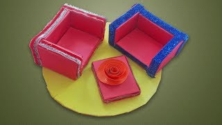 How to Create Beautiful Sofa Set with Matchbox   Miniature Sofa Bed for Kids School Compitition