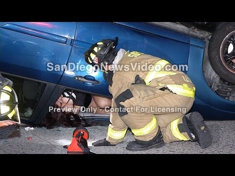 Woman trapped by her own hair in freeway rollover crash on Interstate 805, Clairemont Mesa