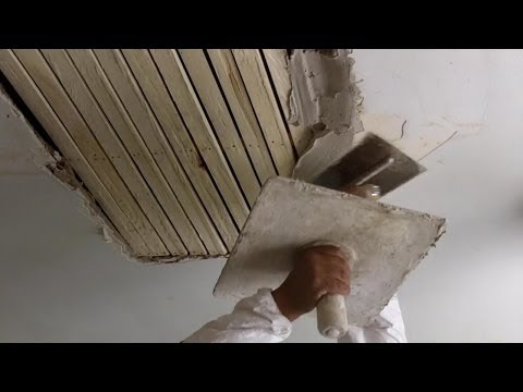 How to Do Traditional Plastering on a Wooden Lath Ceiling Tutorial