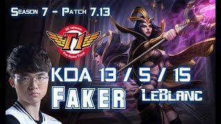 SKT T1 Faker LEBLANC vs GRAGAS Mid - Patch 7.13 KR Ranked