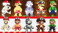 Super Mario Odyssey - All Costumes & Hats (8-Bit Version Comparison)