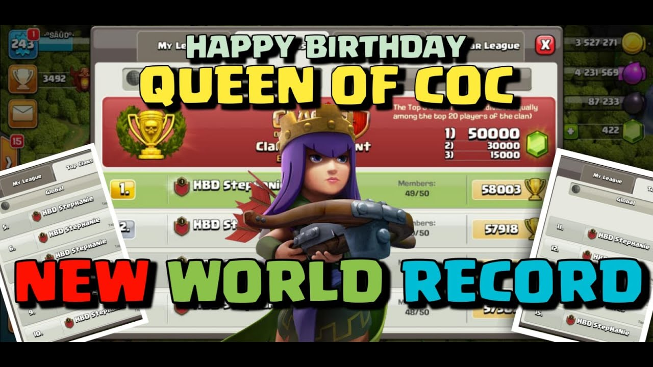 Happy Birthday Stephanie 14 Clans on Top New Record ❤️ CLASH OF CLANS